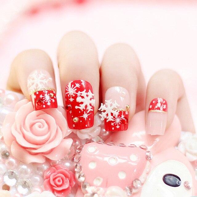 24pcs Red Snowflake Diamond Nail Full Cover Short Nail Designs