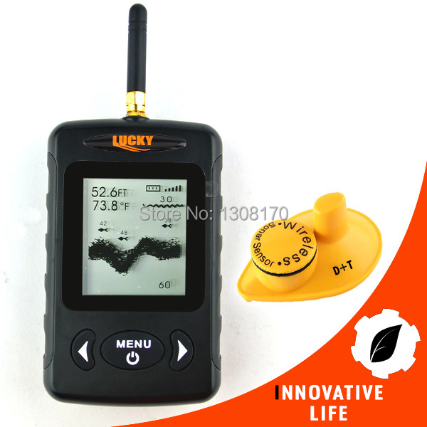 FFW-718BLK LUCKY Digital Wireless Dot Matrix Sonar Sensor River Lake Sea Contour C/F Fishfinder Fish Finder 45M(Black color)