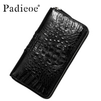 Padieoe Luxury wallet genuine leather wallet Real Crocodile fur leather men wallet fashion business long design handbag