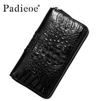 Padieoe Luxury wallet genuine leather wallet Real Crocodile fur leather men wallet fashion business long design handbag