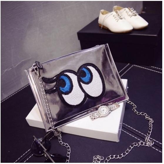 Cartoon Women Chain Messenger Bags Girls Laser Big Eye Bag PU Leather Handbag Ladies Clutch Bag Bolsa Female Mirror Envelope Bag