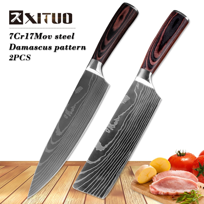 "XITUO 8""inch japanese kitchen knives Imitation Damascus pattern chef knife Sharp Santoku Cleaver Slicing Utility Knives tool EDC"