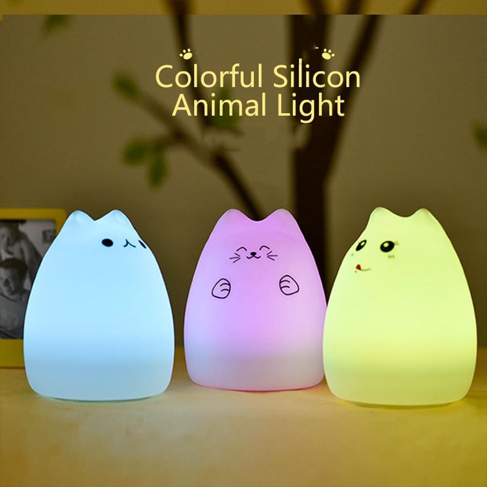 Chambre de bébé 7 Couleurs Led Changement de Couleur Night Light Luminaria USB Animal Nuit Led Lumière Silicone Souple de Bande Dessinée Bébé Enfants Chambre Lampe