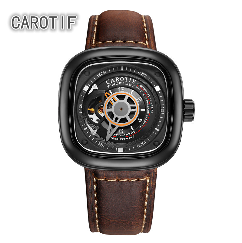 CAROTIF Auto Mekanikal Mens Watch Relogio Masculino Top Brand Luxury Leather Business Watch erkek kol saati Montre Homme