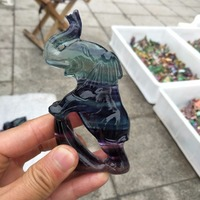 Sculpture natural color fluorite crystal elephant healing statue realistic crystal sculpture as a Christmas gift and home decora