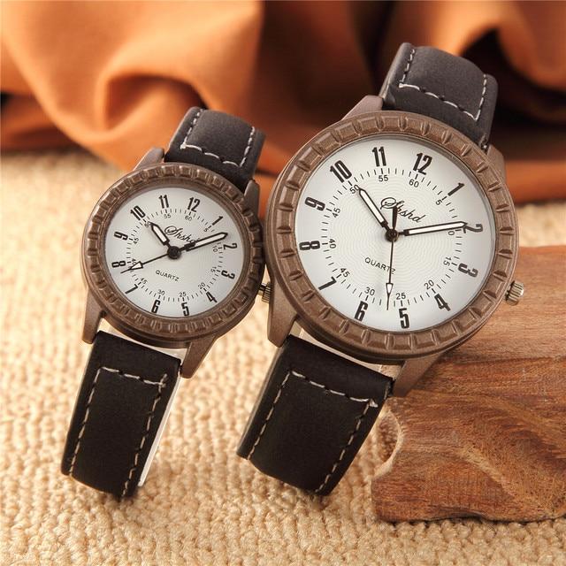 2Pcs Hot Sales Vintage leisure imitation wood watches men women lover couple dress quartz wristwatch