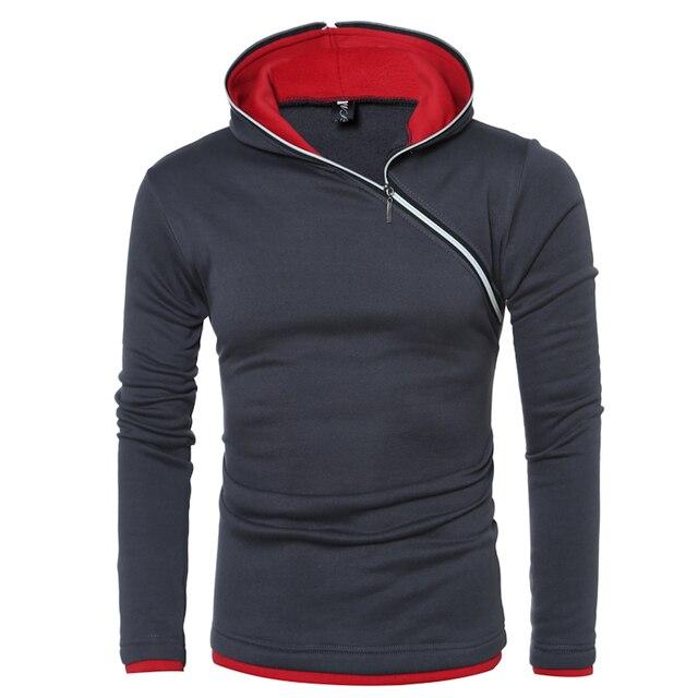 2016 известный бренд с капюшоном толстовки мужчин молния мода весна длинным рукавом slim fit мужские толстовки и кофты размер 3xl