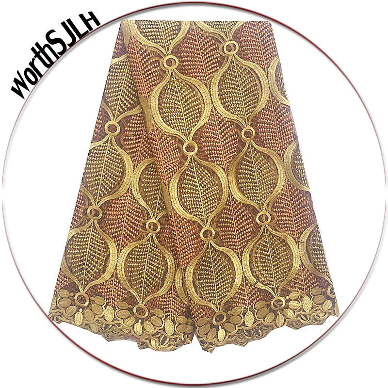 New Designs African Gold Lace Fabrics Elegant Magenta Nigerian Lace Fabric 2018 High Quality Lace Stones