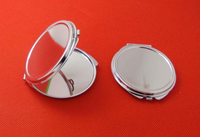 Ücretsiz kargo 10 adet Gümüş Boş Kompakt Ayna Yuvarlak Metal - Cilt Bakımı Aracı - Fotoğraf 2