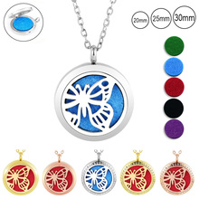 Hot sale! butterfly shape aromatherapy locket 316l stainless steel silver perfume 30mm rose gold diffuser necklace