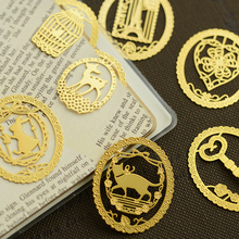 7 pcs/Lot Gold scenery animal bookmarks for books Vintage metal bookmark Fancy Office decoration School supply FC833 6 pcs lot vintage music metal bookmark western instrument bookmarks for books page holder fancy school supplies fc832