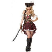 2017 New Sexy Women Pirate Costume Halloween Fancy Party Dress Carnival Perfor mance high quality Adult Pirate Cosplay Costumes