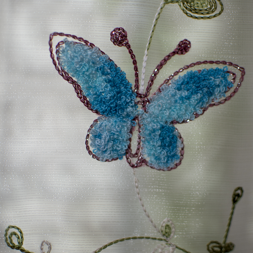 Organza wool embroidery Blue butterfly Pattern Balloon curtain ...