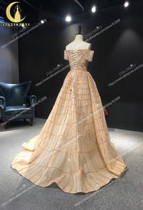 Image 5 - JIALINZEYI Real Image Luxurious Boat Neck Chapagne Beads Court Trian robe de soiree Formal Dresses Evening Dress 2019