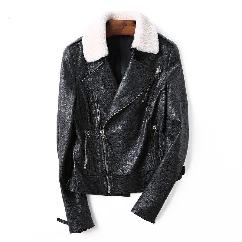 Vintage Véritable Coréenne Cuir En Femelle Zt1741 Peau 2019 Manteau Tops Laine Col Automne Femmes Black Mouton De Hiver Veste Réel 4qTnxp1T