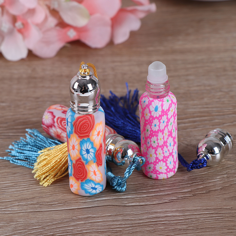 1pc/4pc New Glass Perfume Roll On Bottle With Glass Ball Polymer Clay Roller Essential Oil Bottle Mini Refillable Perfume Bottle