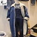 Плюс размер Новые Случайные Женские Зимние Осень Шерсти Ягнят Нагрудные джинсовая Куртка Тонкий Хлопок Джинсы Пальто Длинные Теплые куртки корейский бренд