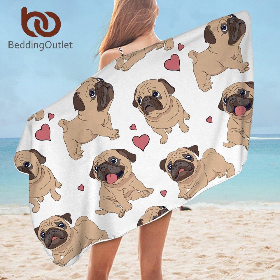 BeddingOutlet Hippie Pug Bath Towel Bathroom Microfiber Animal Cartoon Dog Beach Towel For Adult Cute Bulldog Blanket 75x150cm