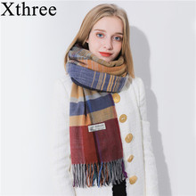 Xthree 180* 70 winter style Shawls Scarves for Women Luxury Scarf Winter Brand Soft Cashmere stripe lady Women Scarf