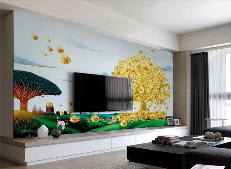 Gold Wallpaper Custom Money Tree Chinese Wallpaper Murals Embossed