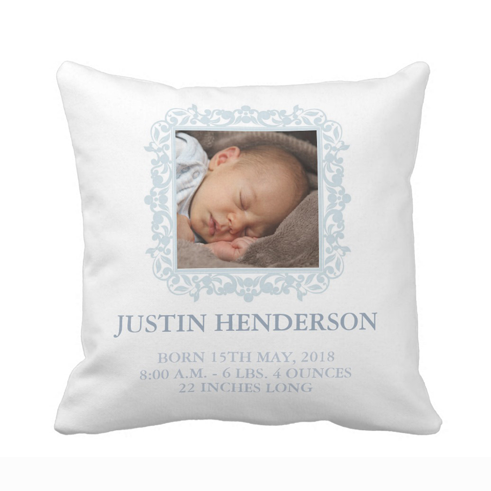 Personalized Blue Photo Baby Nursery Birth Stats
