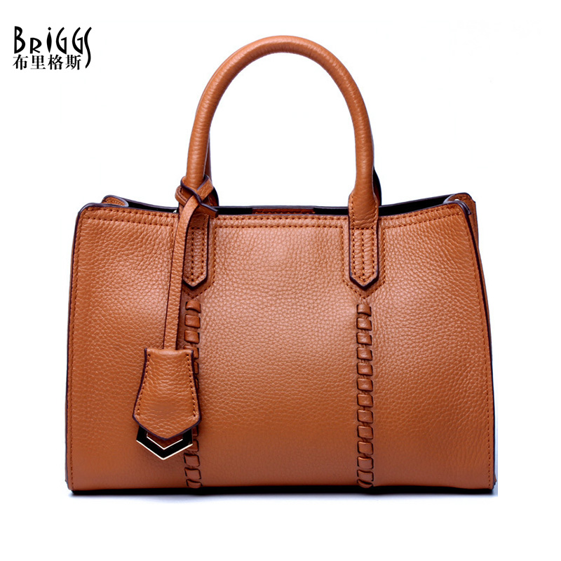 BRIGGS Genuine Leather Handbag For women Cow Leather Embossed Shoulder Bag Famous Brand Women Bag Casual Tote Bags Satchels