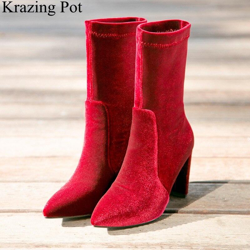 2018 Neue Ankunft Spitz Samt Mid-kalb Stiefel Elegante Marke Platz Ferse Strech Stiefel Solide Party Warm Halten Winter Schuhe L60