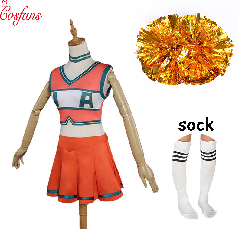 My Hero Academia Boku No Hero Academia Asui Tsuyu YAOYOROZU MOMO OCHACO URARAKA Cheerleader Cosplay Costume 2 Flowers And Socks