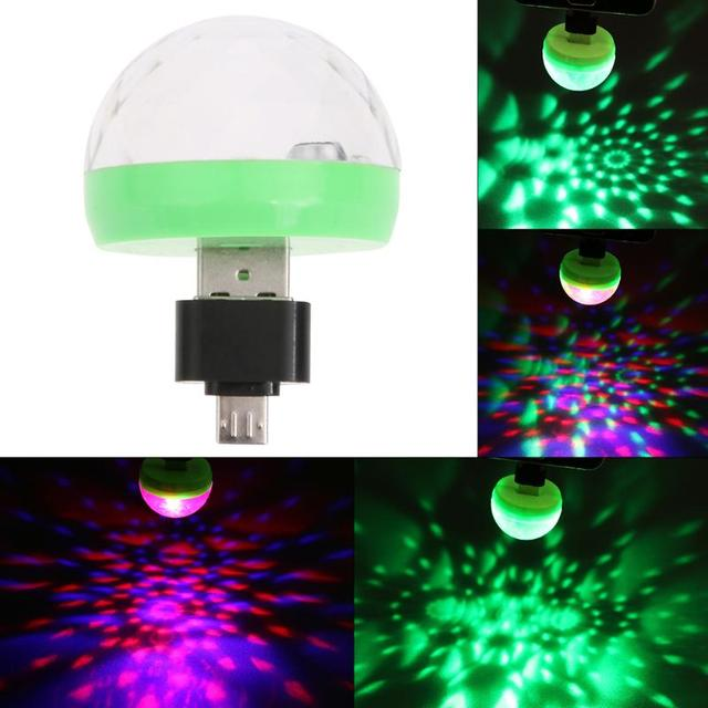 Mini Usb Led Party Lights Portable Crystal Magic Ball Home Karaoke Decorations Colorful Stage Disco Light