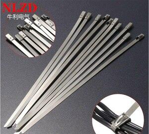 Image 1 - 100 Adet S316 Paslanmaz Çelik Metal kablo bağı w = 7.9mm Zip Kayış Kilitleme Egzoz Borusu Header 6 inç 10 inç 16 inç 22 inç 28 inç