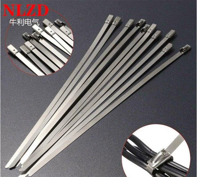 100 Adet S316 Paslanmaz Çelik Metal kablo bağı w = 7.9mm Zip Kayış Kilitleme Egzoz Borusu Header 6 inç 10 inç 16 inç 22 inç 28 inç