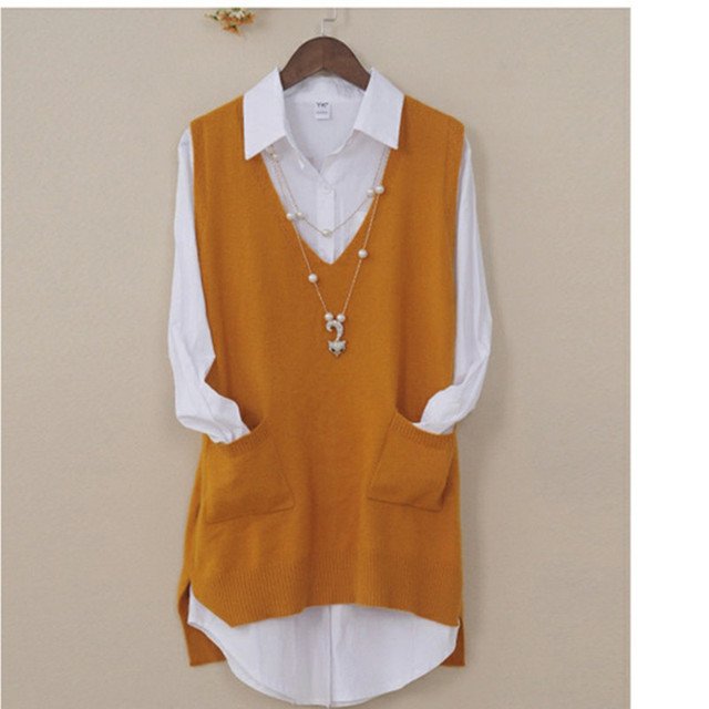 Womens Spring Autumn Cashmere Knitted Vest Both Sides Split Loose