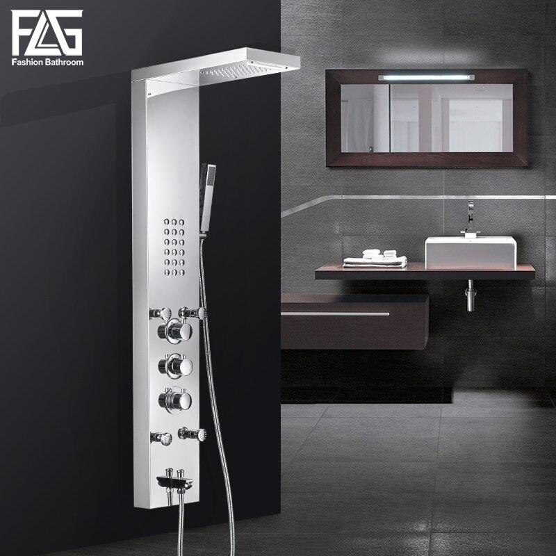 FLG baño lluvia ducha panel cascada lluvia Sistema de masaje grifo con jets ducha de mano baño columna de ducha Mezclador