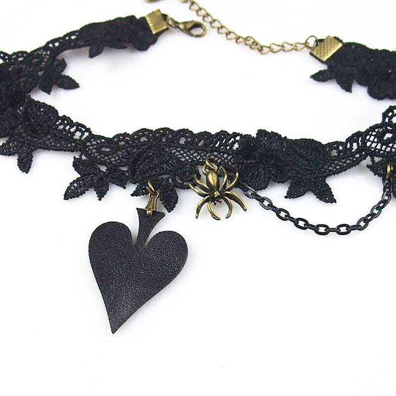 Damen Lady handgemachte Lolita Gothic Punk Herz Spaten PU Leder - Modeschmuck - Foto 2