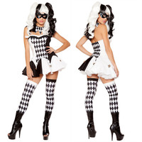 New Sexy Costumes Black White Devious Harlequin Circus Jester Clothes Clown Fancy Dress Halloween Cosplay Costume Woman