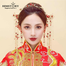 HIMSTORY Vintage Chinese Traditional Bridal Headdress Hairpin Elegance Red Beaded Pearls Gold Headband Wedding Accessories