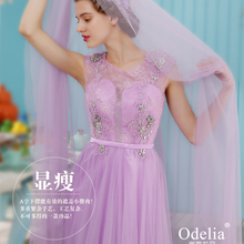 free shipping crystal dress to party vestido de festa formatura 2014 new fashionable salomon lace purple long Graduation Dresses