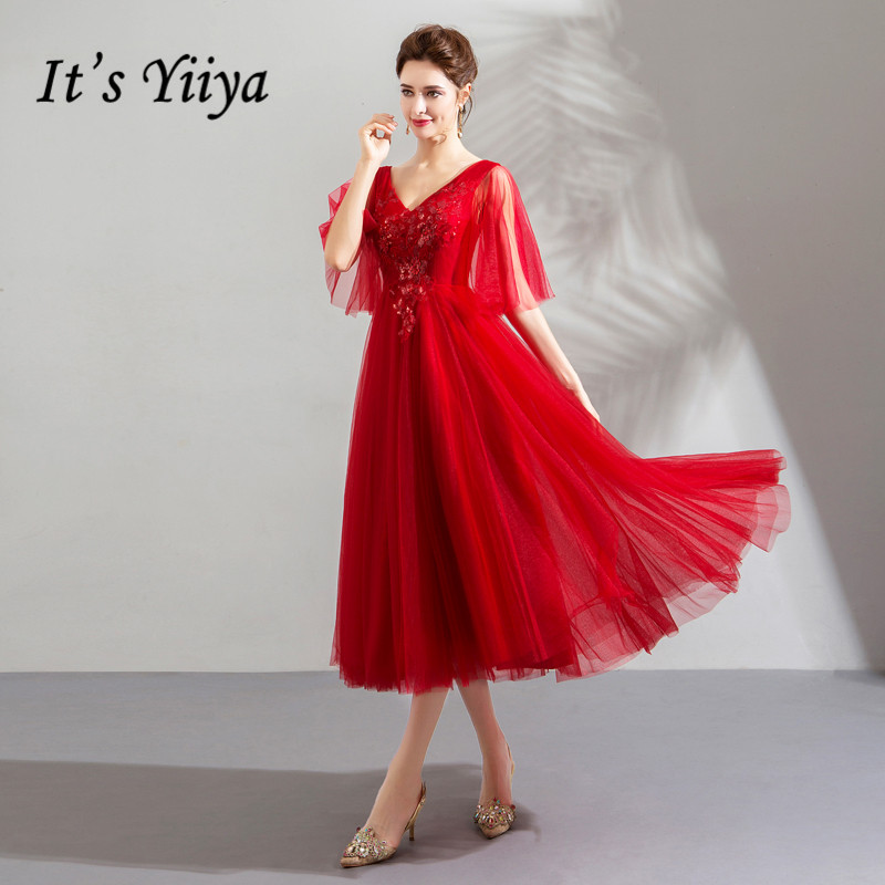It's YiiYa   Prom     Dress   Crystal Sequins Shining Tea Length Party   Dresses   Embroidery Appliques V-neck Lace Up Formal Gowns E210