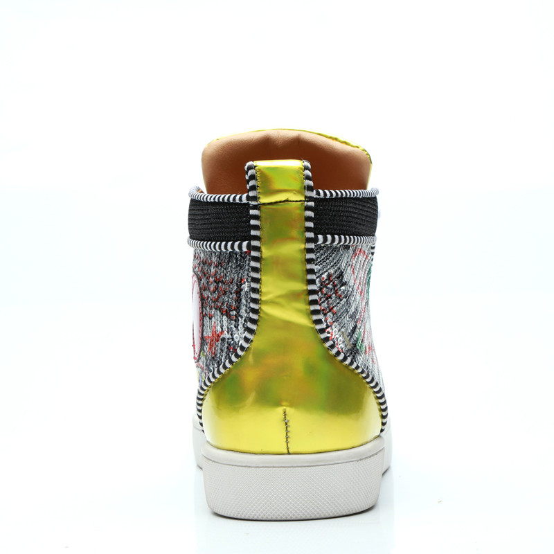 Men Graffiti Painting High Top Patchwork Casual Shoes Spike Sneaker Lace up  Rivets Stud Flats Runway Chaussure Hommes-in Men s Casual Shoes from Shoes  on ... 1a940571a3a4