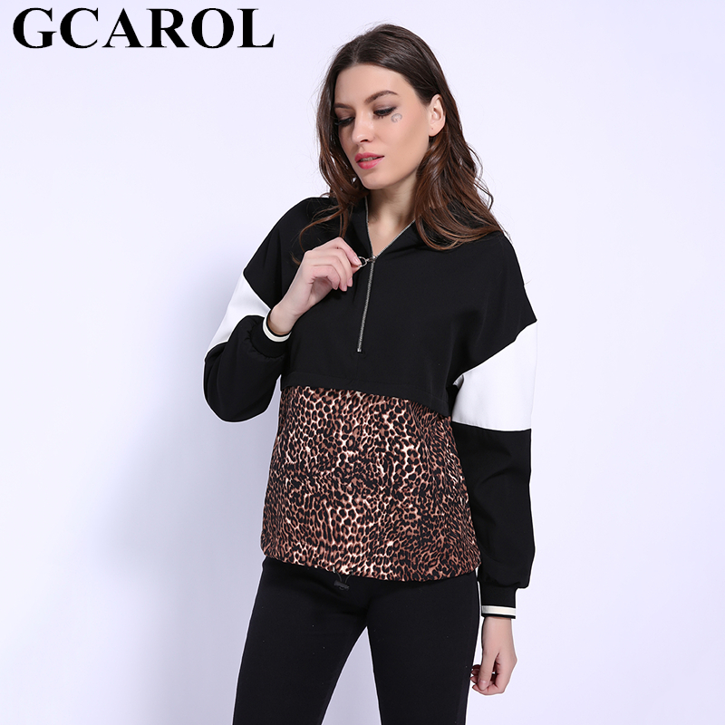 GCAROL New Arrival Fall Winter Leopard Spliced Sweatshirt Zip Up Drop Shoulder Hoodies High Quality Fashion Ladies Tops Jumper