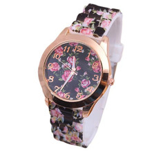 New Arrival Flower Women Watches Floral Rose Pattern Leisure Time Analog Silica gel Wrist Watch reloj mujer wholesale#7550903