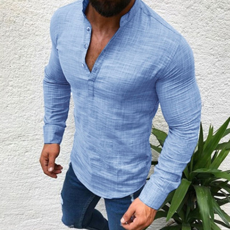 New Mens Casual Shirt Buttons Slim Fit Linen Cotton Stand Collar Long Sleeve hot