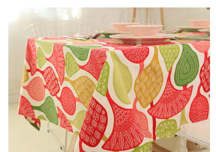 Customized 100% Cotton Colorful Coral Nappe Tablecloth Coffee Party Wedding  Ethnic Table Cover Toalha De