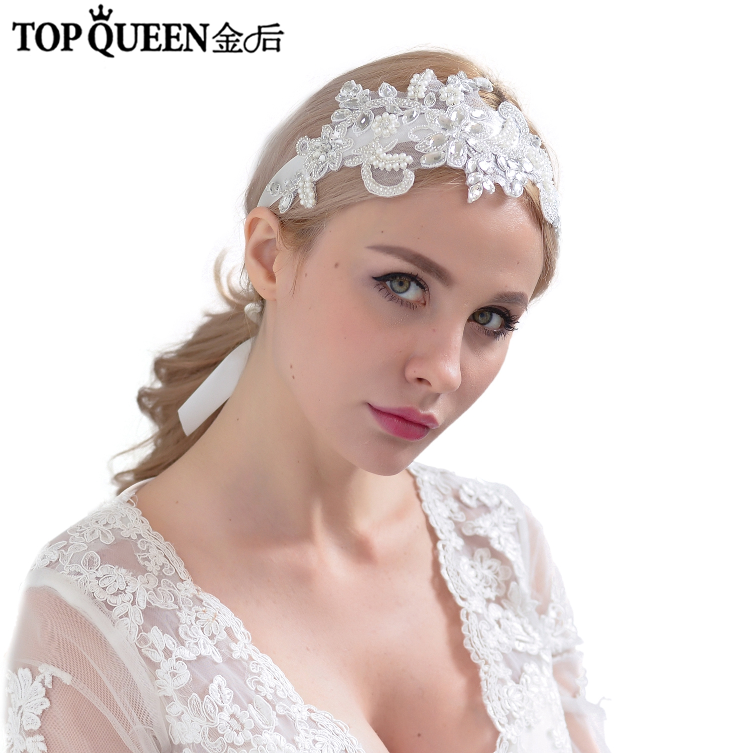 TOPQUEEN H74 Classical Bridal Hair Accessories For Women Rhinestones and Pearls Flower Hairband Bride Hair Jewelry Belt