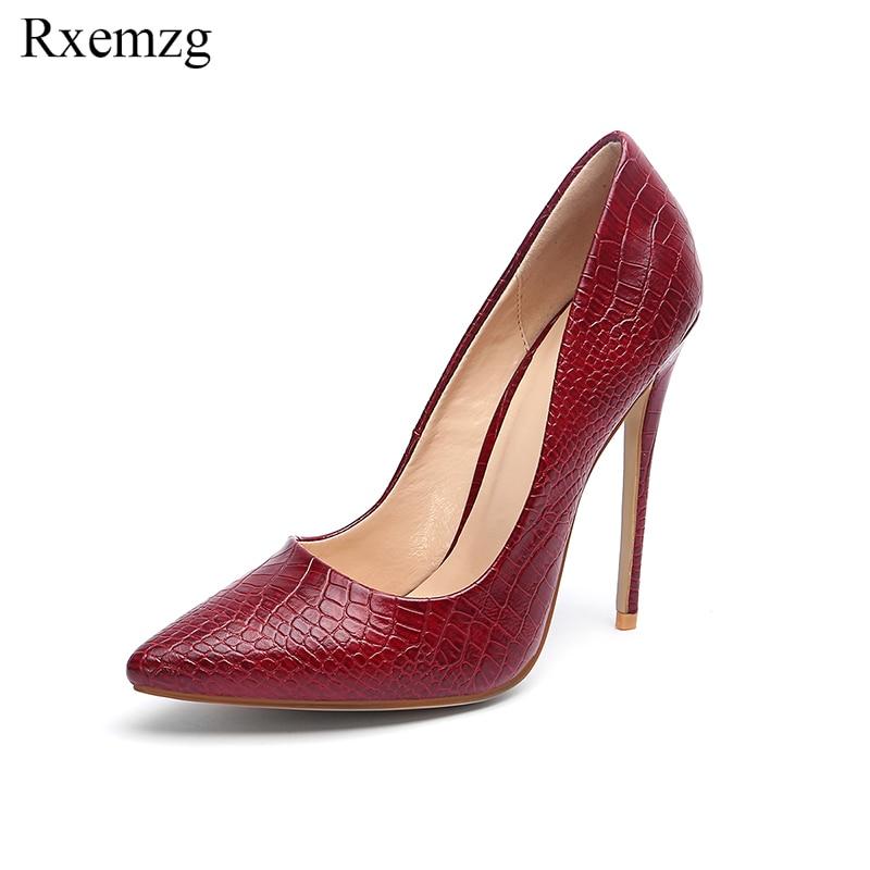Ayakk.'ten Kadın Pompaları'de Rxemzg stiletto topuklu ayakkabı kadın büyük boy 33 45 moda yüksek topuklu kadın pompaları klasik siyah kırmızı şarap seksi parti düğün ayakkabı'da  Grup 1