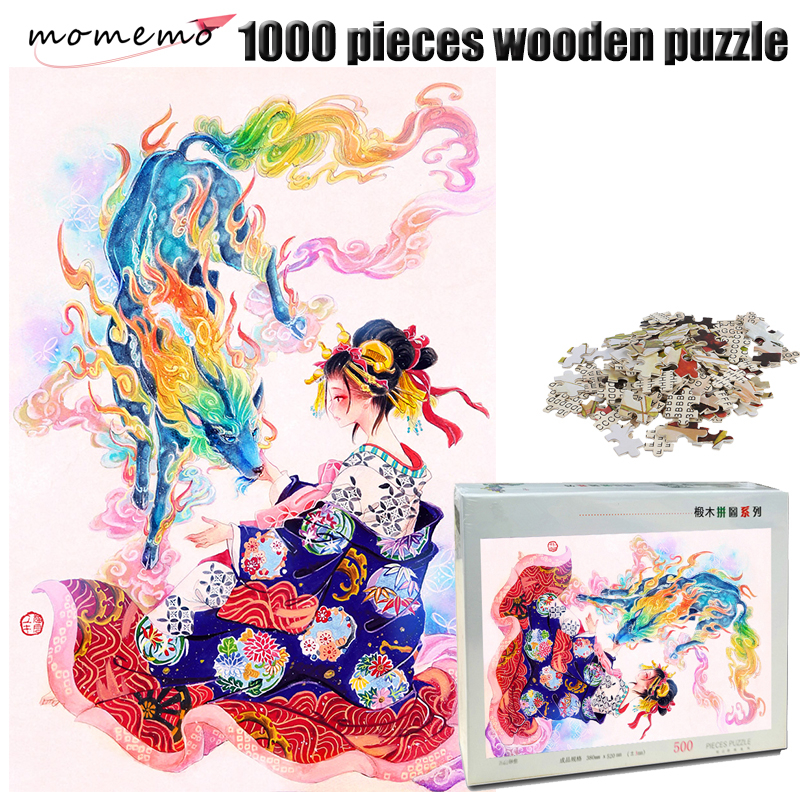 MOMEMO Kylin and Girl Puzzle 1000 Pieces Wooden Jigsaw Puzzle Adult Hand Painted Color Puzzle Entertainment Assembling Toys Gift