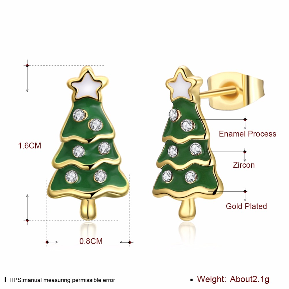 BAFFIN Gold Color Christmas Tree Stud Earrings New Fashion Christmas ...