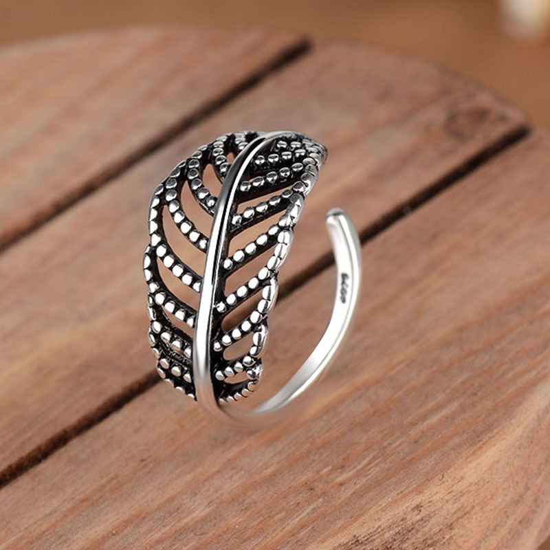 Bohemian Vintage Silver Color Leaf Rings for Women Fashion Statement Jewelry Adjustable Finger Ring Girls Gifts 4