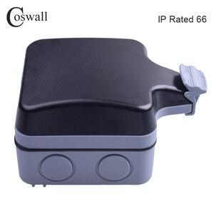 Image 4 - Coswall IP66 עמיד עמיד למים חיצוני תיבת קיר שקע חשמל 1 כנופיית אוניברסלי/תקן בריטי להעביר לשקע עם ניאון