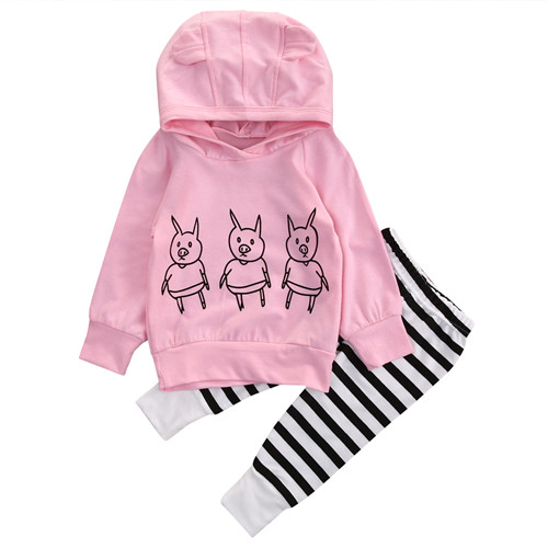 0-24M Newborn Infant Kid Baby Boy Girl Cotton Long Sleeve Hooded Tops Sweatshirt Long Striped Pants Outfits 2Pcs Clothes Set